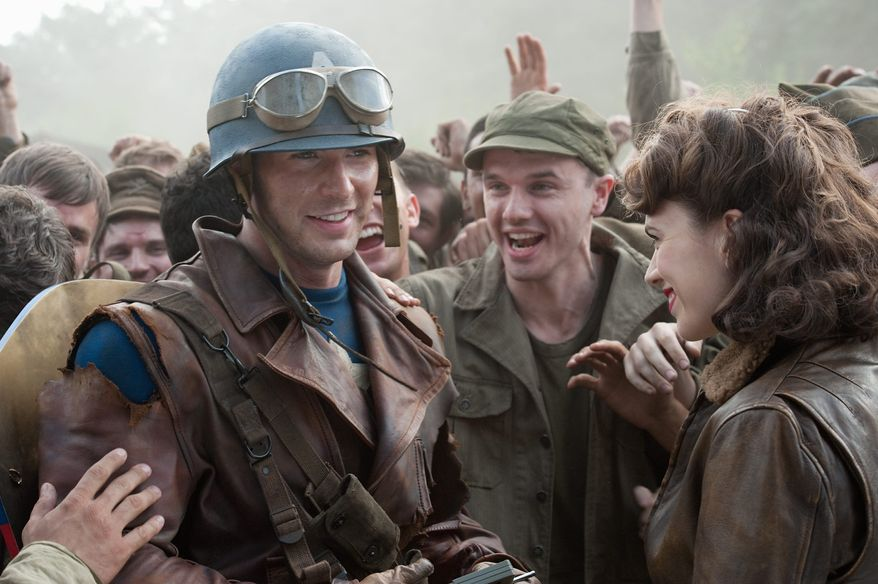 Hayley Atwell (right) portrays fellow officer Peggy Carter in 'Captain America.' (Paramount Pictures photograph)