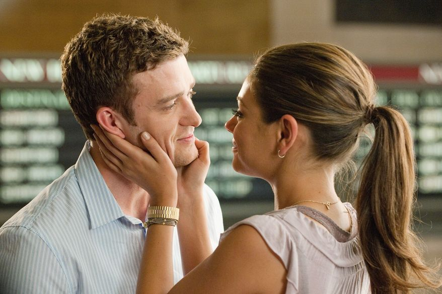 """In """"Friends with Benefits"""" (2011), Justin Timberlake and Mila Kunis, above, played """"millennials who, clueless about how to maintain romantic relationships, agree to engage in casual sex,"""" writes Kira Davis. (Sony Screen Gems)"""