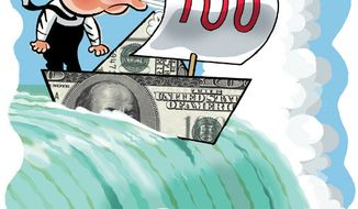 Illustration: Balanced budget by Alexander Hunter for The Washington Times