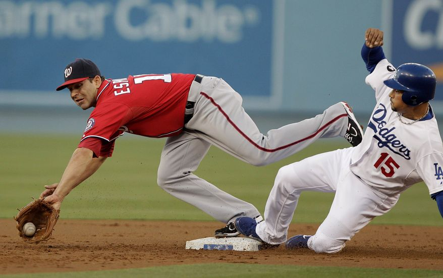Los Angeles Dodgers' Rafael Furcal, right, beats the throw to Washington Nationals second baseman Danny Espinosa during the first inning of a baseball game in Los Angeles, Saturday, July 23, 2011. (AP Photo/Jae C. Hong)
