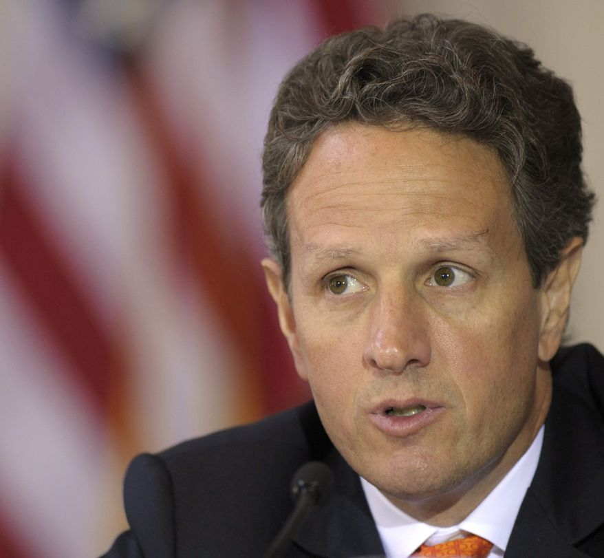 ** FILE ** Treasury Secretary Timothy Geithner speaks at the Financial Stability Council meeting on the one-year anniversary of the Dodd-Frank Reform and Consumer Protection Act, Monday, July 18, 2011, at the Treasury Department in Washington. (AP Photo/Susan Walsh)