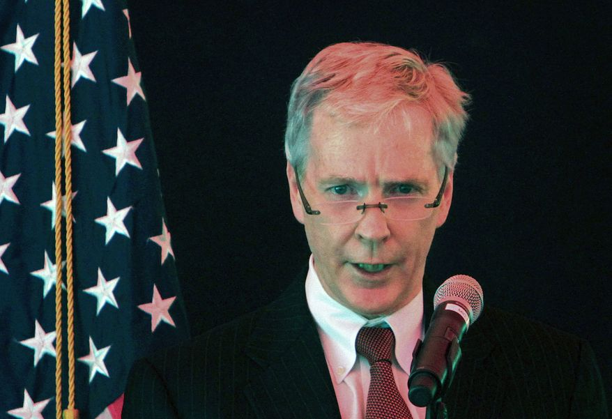 ** FILE ** Ryan Crocker, the new U.S. ambassador to Afghanistan, speaks during his swearing-in ceremony in Kabul, Afghanistan, on Monday, July 25, 2011. (Associated Press)