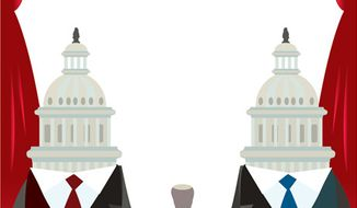 Illustration: Capitol Hill's rubber stamp by Linas Garsys for The Washington Times
