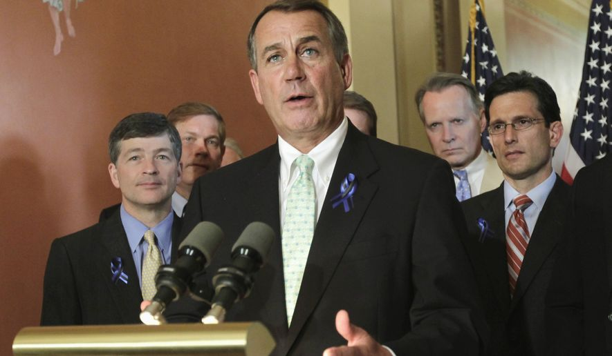 House Speaker John Boehner of Ohio, center, joined by other GOP leaders, criticizes President Obama and Congressional Democrats for failure to end the debt crisis, Monday, July 25, 2011, on Capitol Hill in Washington, Monday, July 25, 2011. From left are, Rep. Jeb Hensarling, Texas Republican, Boehner, Rep. David Dreier,, California Republican, and House Majority Leader Eric Cantor of Va. (AP Photo/J. Scott Applewhite)