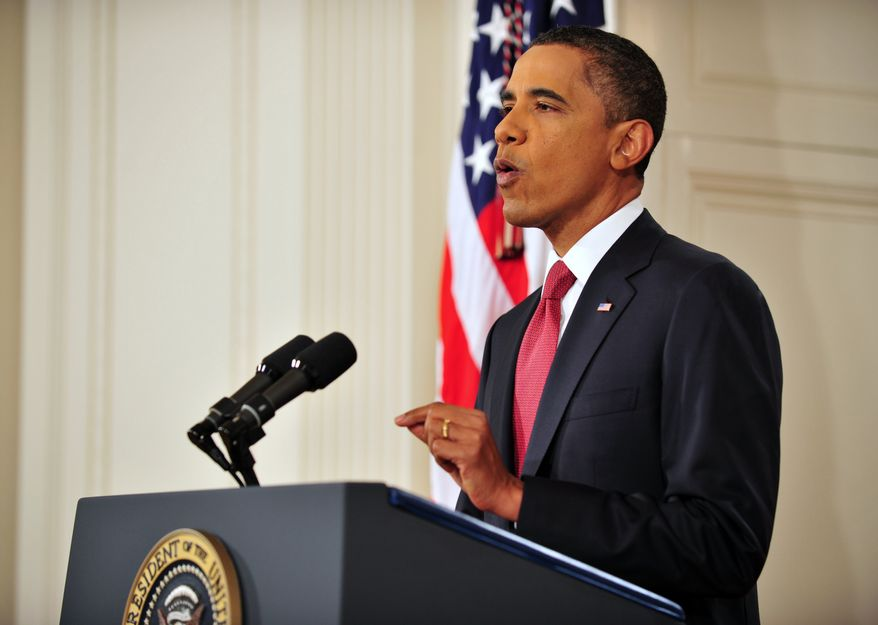 President Barack Obama addresses the nation from the East Room of the White House in Washington, Monday, July 25, 2011, on the approaching debt limit deadline. (AP Photo/Jim Watson, Pool)