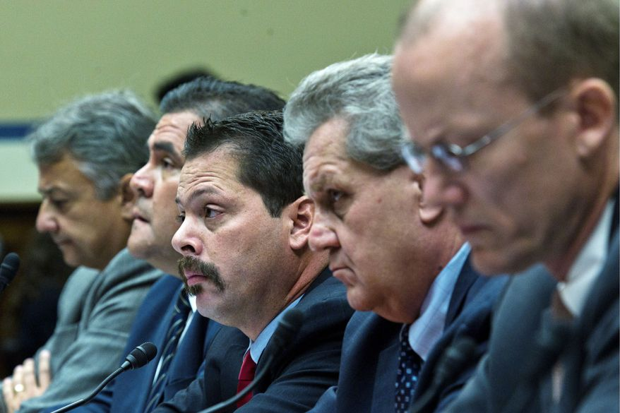 """DREW ANGERER/THE WASHINGTON TIMES UNDER OATH: On hand to testify about """"Operation Fast and Furious"""" failings before the House Oversight and Government Reform Committee on Tuesday are from left: Jose Wall, ATF agent; Carlos Canino, ATF attache to Mexico; Lorren Leadmon, ATF intelligence specialist; and William Newell, former ATF agent."""