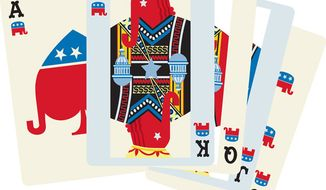 Illustration: The GOP's hand by Linas Garsys for The Washington Times