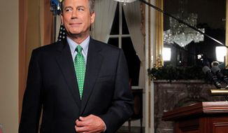 """House Speaker John A. Boehner, Ohio Republican, is said to sport green ties about """"25 percent of the time."""""""