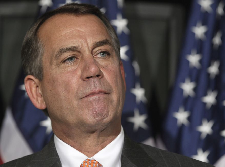House Speaker John Boehner, Ohio Republican, pauses during a news conference on Capitol Hill in Washington on July 26, 2011. (Associated Press)