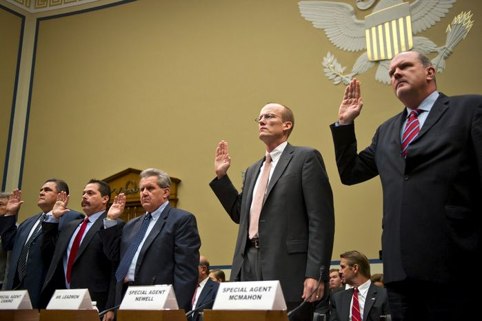 From left, Jose Wall, ATF Senior Special Agent, Carlos Canino, ATF Acting Attach to Mexico, Lorren Leadmon, ATF Intelligence Operations Specialist, William Newell, Former ATF Special Agent in Charge, and William McMahon, ATF Deputy Assistant Director for Field Operations, are sworn in  during a House Oversight and Government Reform hearing looking into the Justice Department's firearms trafficking investigation, Operation Fast and Furious, on Capitol Hill Washington, D.C., Tuesday, July 26, 2011. (Drew Angerer/The Washington Times)
