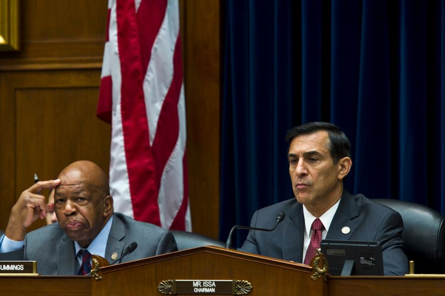 Ranking Member Rep. Elijah Cummings, D-Md., left, and Committee Chairman Rep. Darrell Issa, R-Calif., listen to opening statements from the witnesses during a House Oversight and Government Reform hearing looking into the Justice Department's firearms trafficking investigation, Operation Fast and Furious, on Capitol Hill Washington, D.C., Tuesday, July 26, 2011. (Drew Angerer/The Washington Times)