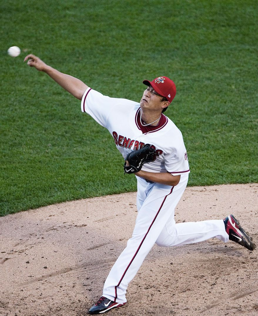 The Senators Chien-Ming Wang pitches during the second inning against the SeaWolves on Thurs. July 7, 2011.  JENNY KANE, The Patriot-News