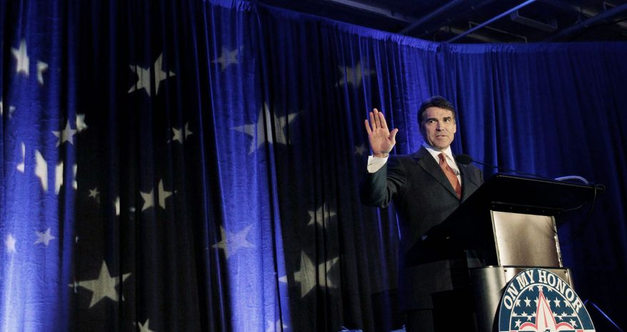 Texas Gov. Rick Perry's aides have been laying the groundwork for a White House bid, and Mr. Perry has been talking to influential Republicans in early voting states. He is expected to jump in when he announces a decision in the coming weeks. (Associated Press)