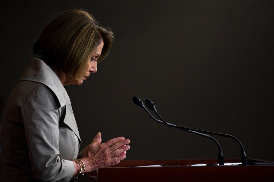 House Minority Leader Nancy Pelosi discusses the House debt bill during her weekly press conference, on Capitol Hill, in Washington, D.C., Thursday, July 28, 2011. (Drew Angerer/The Washington Times)
