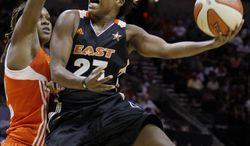New York Liberty's Cappie Pondexter, shown in the WNBA All-Star game, scored a game-high 19 points in the Liberty's 75-71 win over the Washington Mystics on Thursday night. (AP Photo/Darren Abate)