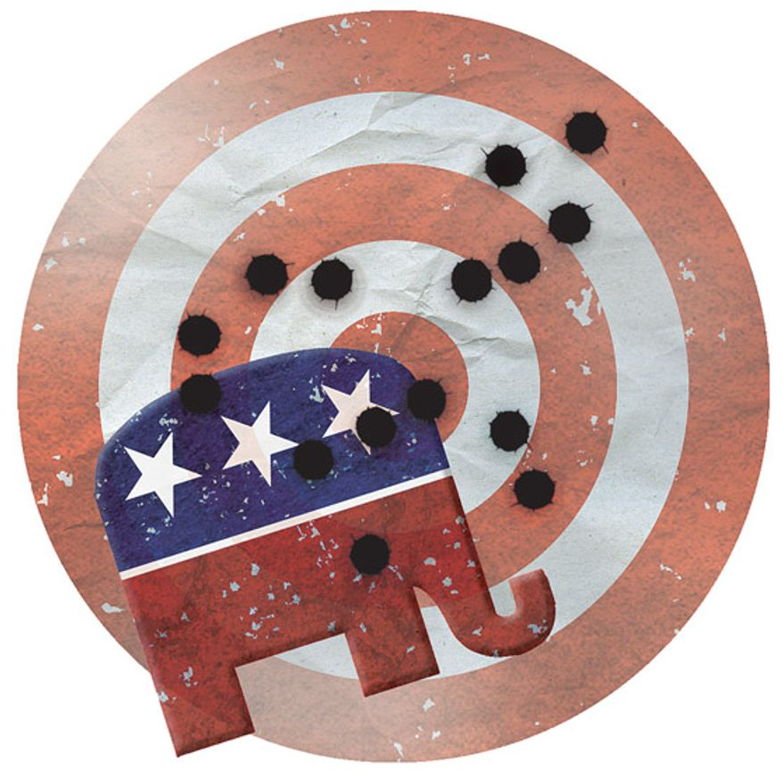 Illustration: GOP target by Greg Groesch for The Washington Times