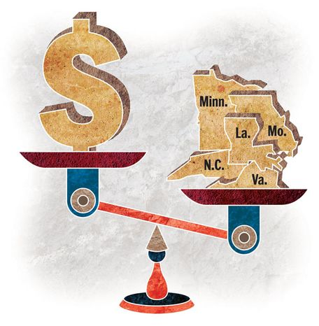 Illustration: State balance by Greg Groesch for The Washington Times