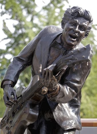 """The bronze statue of Mr. Berry was placed near Blueberry Hill, the club where the octogenarian rock 'n roll legend still performs monthly. His hits included """"Johnny B. Goode,"""" """"Sweet Little Sixteen,"""" and """"Roll Over Beethoven."""""""