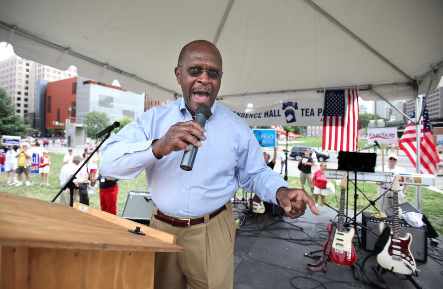 Republican presidential candidate Herman Cain, here at a July 4th tea party rally in Philadelphia, is proving to be a compelling figure on the campaign circuit. After speaking at conservative summit Sunday in Denver, he won the straw poll by a wide margin. (Associated Press)