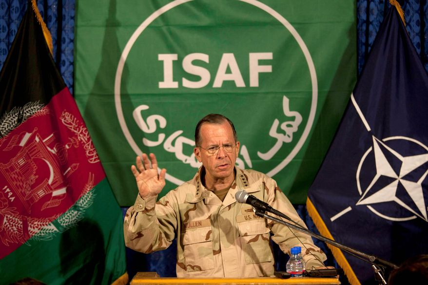 Adm. Mike Mullen, chairman of the Joint Chiefs of Staff, says Sunday during a news conference in Kabul, Afghanistan, that the top U.S. commander in the war-weary country has been ordered to submit a plan by mid-October for the initial withdrawal of American troops. (Associated Press)
