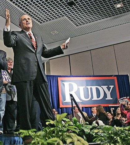 """Rudolph W. Giuliani has offended the Italic Institute of America by hosting AMC's """"Mob Week."""" (Associated Press)"""