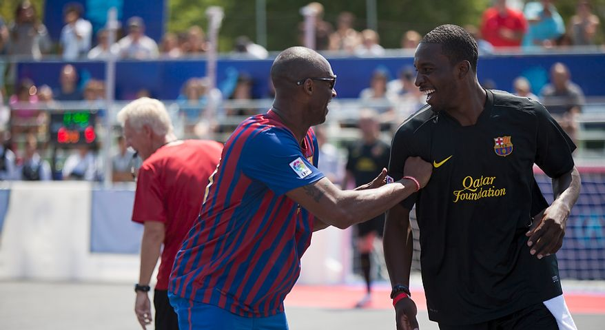 Los Angeles Lakers star Kobe Bryant and Jeff Green of the Boston Celtics share a laugh during the 2011 Celebrity Soccer Challenge at Kastles Stadium at The Wharf in Southwest Washington, D.C. on Sunday, July 31, 2011. (Pratik Shah/The Washington Times)
