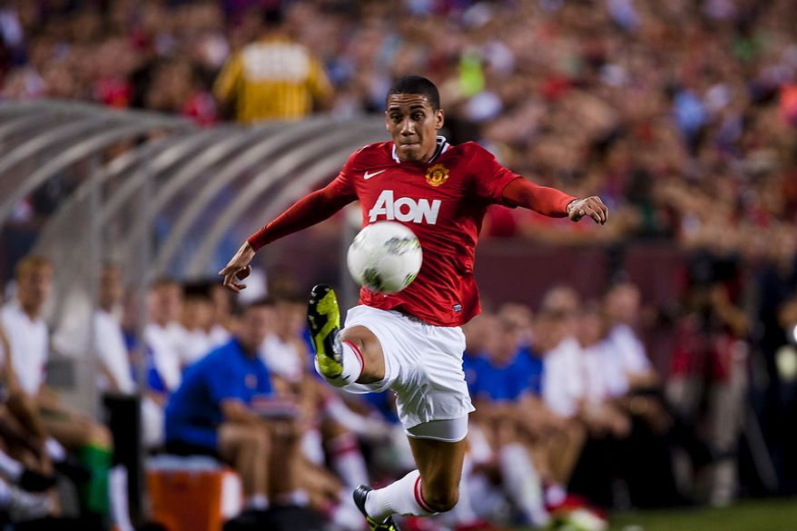 Manchester United defender Chris Smalling controls a long pass during the 2011 Herbalife World Football Challenge match between Manchester United and FC Barcelona at FedEx Field in Landover, Md. on Saturday, July 30, 2011. (Pratik Shah/The Washington Times)