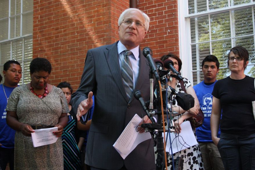 ASSOCIATED PRESS Joseph Sandler, a lawyer representing immigrant advocacy group Casa de Maryland, projects 58,000 of the nearly 109,000 approved signatures in a petition sending the state's Dream Act to referendum should be invalidated. That total would leave the petition drive about 4,000 signatures short of its requirement.