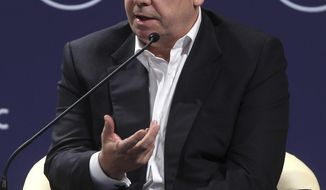 **FILE** In this photo from June 13, 2011, HSBC Group Chief Executive Stuart Gulliver speaks at the World Economic Forum on East Asia in Jakarta, Indonesia. (Associated Press)