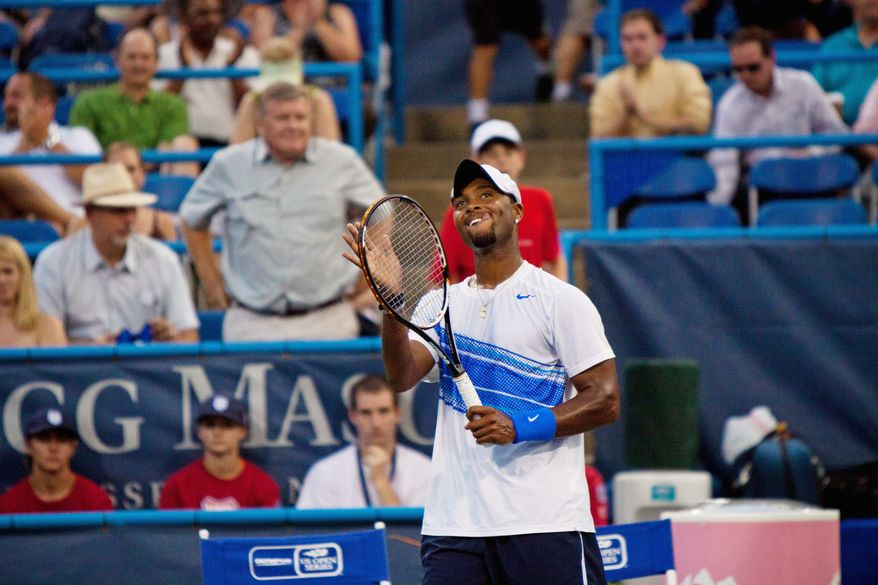 Things were looking up for Donald Young after defeating Artem Sitak in the Legg Mason Classic on Monday night. Young's tennis career hasn't always been smooth (below) despite high expectations and years of resources provided by the USTA. (Pratik Shah/The Washington Times)