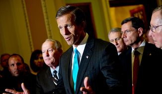 Sen. John Thune, R-S.D., along with GOP leadership, speaks to the media after the Senate passed the debt ceiling plan, on Capitol Hill, in Washington, D.C., Tuesday, Aug. 2, 2011. (Drew Angerer/The Washington Times)