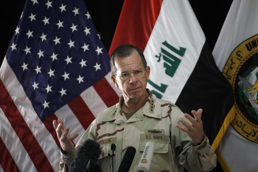 Chairman of the Joint Chiefs of Staff Adm. Mike Mullen speaks to reporters at a news conference in Baghdad, Iraq, Tuesday, Aug. 2, 2011. (AP Photo File/Maya Alleruzzo)