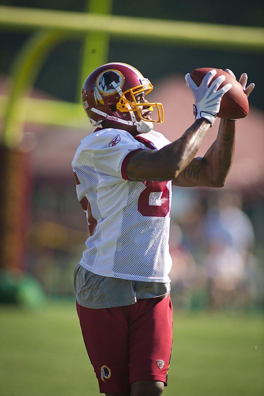 Washington Redskins wide receiver Leonard Hankerson (85) pulls down a pass during training camp at Redskins Park in Ashburn, Va., Tuesday, August 2, 2011. (Rod Lamkey Jr./The Washington Times)