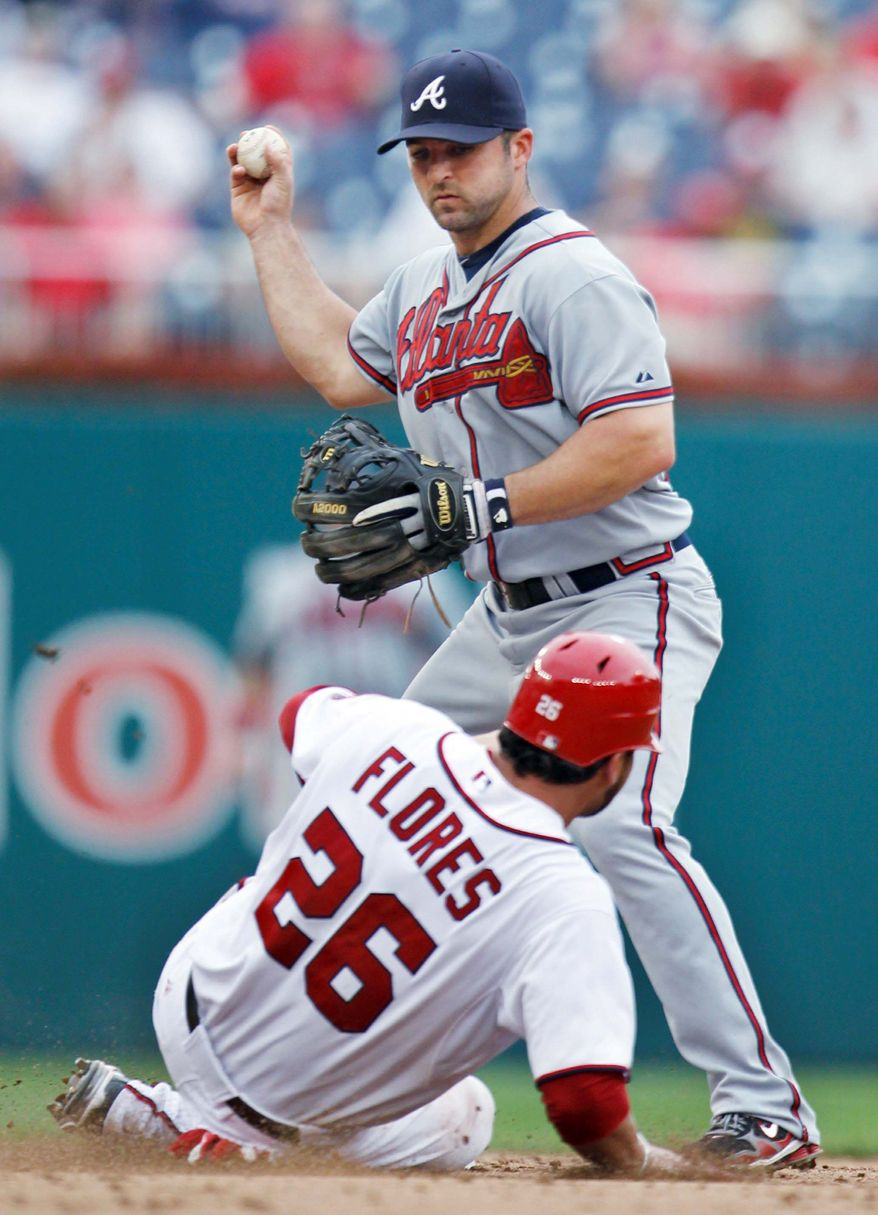 Washington Nationals starting pitcher Chien-Ming Wang (40) from Taiwan throws a pitch during the first inning of a baseball game against the Atlanta Braves at Nationals Park in Washington, Wednesday, Aug. 3, 2011. (AP Photo/Manuel Balce Ceneta)ASSOCIATED PRESS Washington's Jesus Flores is forced at second by Atlanta's Dan Uggla during the fifth inning.