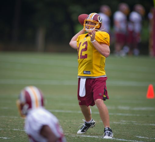 ** FILE ** Washington Redskins quarterback John Beck drops back for a pass during training camp at Redskins Park in Ashburn, Va., on Wednesday, Aug. 3, 2011. (Rod Lamkey Jr./The Washington Times)