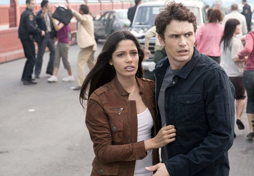 An experiment has unexpected  results for the zoo veterinarian played by Freida Pinto and the scientist character of James Franco.