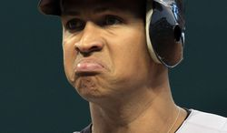** FILE ** In this July 28, 2010, file photo, New York Yankees' Alex Rodriguez reacts after he popped out in the second inning in a baseball game against the Cleveland Indians in Cleveland. Major League Baseball plans to interview Rodriguez as it investigates allegations the Yankees star took part in illegal celebrity poker games. (AP Photo/Tony Dejak File)