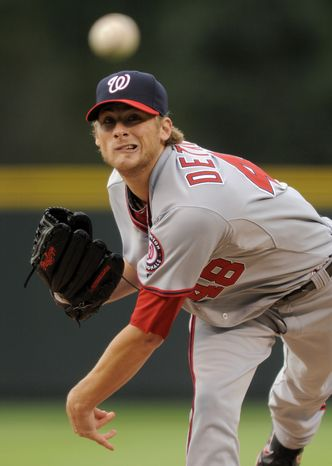 Washington Nationals starting pitcher Ross Detwiler lasted five innings and allowed three runs in the Nationals' 4-2 loss to the Chicago Cubs on Wednesday. (AP Photo/ Jack Dempsey)