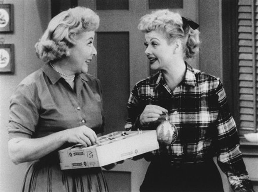 """In this undated TV image originally released by CBS, Vivian Vance, left, and Lucille Ball are shown in a scene from the comedy series, """"I Love Lucy."""" Ball, who died on April 26, 1989, would have celebrated her 100th birthday on Saturday, Aug. 6, 2011. (AP Photo/CBS, file)"""