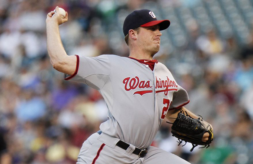 Washington Nationals starting pitcher Jordan Zimmermann gave up two earned runs in 5 2/3 innings Friday against the Colorado Rockies. He struck out eight. (AP Photo/Barry Gutierrez)
