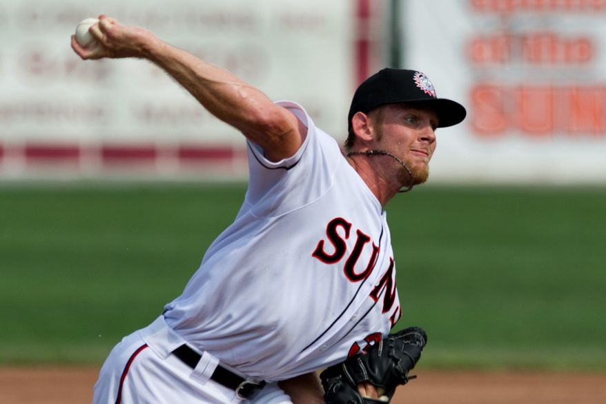 Nationals pitcher Stephen Strasburg throws a pitch during his first rehab start, in a game for the Hagerstown Suns against the Greensboro Grasshoppers, in Hagerstown, Md., Sunday, Aug. 7, 2011. He pitched 1.2 innings, striking out four batters and giving up three hits, including a homerun. He threw 31 pitches. (Drew Angerer/The Washington Times)
