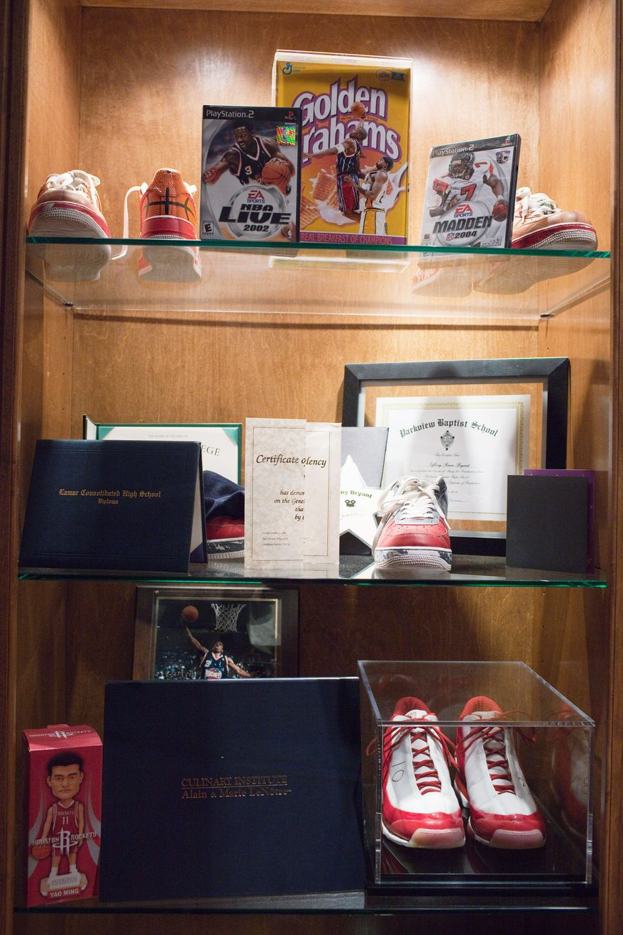 Memorabilia belonging to former NBA basketball player Steve Francis, July 28, 2011 in Houston at his home. (Eric Kayne/Special to The Washington Times)