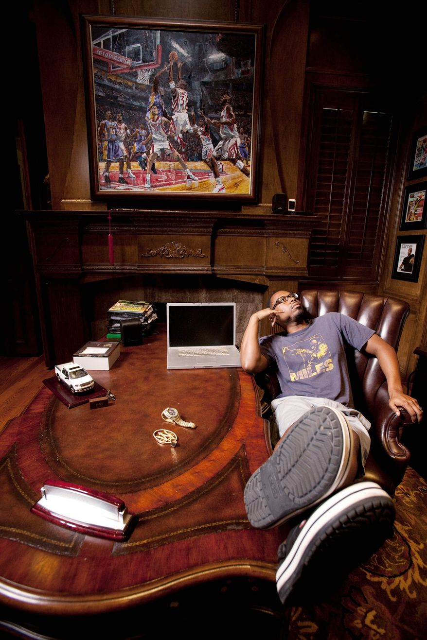 Former NBA star Steve Francis, enjoying an idle moment at his home in Houston, averaged 18.1 points a game over a nine-year pro career. The Takoma Park native also had one standout season at Maryland. (Eric Kayne/Special to The Washington Times)