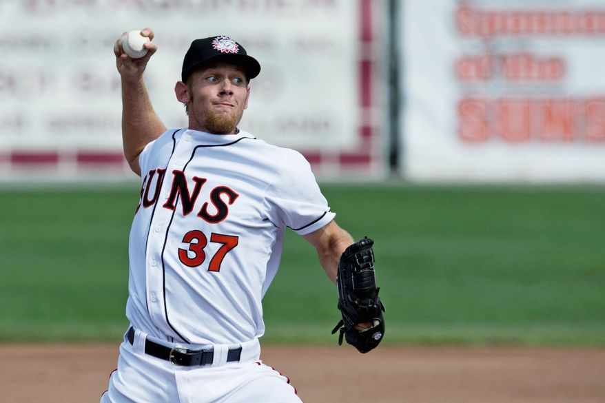 Washington Nationals star Stephen Strasburg struck out four for Class A Hagerstown on Sunday in his first rehab start. (Drew Angerer/The Washington Times)