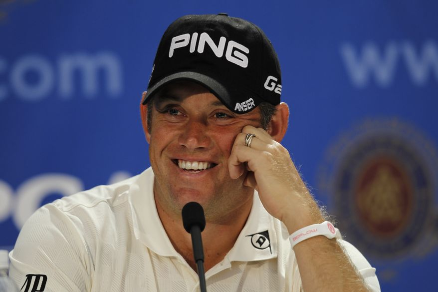 Lee Westwood answers a question during a news conference at the PGA Championship on Tuesday, Aug. 9, 2011, at the Atlanta Athletic Club in Johns Creek, Ga. (AP Photo/John Bazemore)
