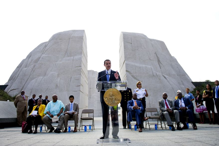 D.C. Mayor Vincent Gray holds a press conference to announce activities and events leading up to the dedication of the new Martin Luther King Jr. National Memorial. (Drew Angerer/The Washington Times)