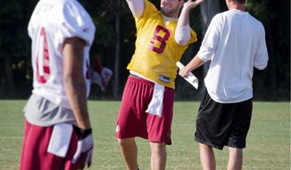 Redskins quarterback Rex Grossman says he expects to play into the second quarter against the Pittsburgh Steelers on Friday night. Grossman started the final three games last season. (Rod Lamkey Jr./The Washington Times)