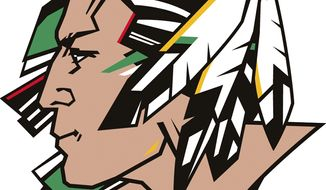 ** FILE ** This undated file image released by the University of North Dakota shows the school's Fighting Sioux logo. (AP Photo/University of North Dakota via The Dickinson Press, File)