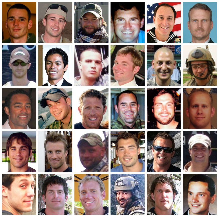This combo shows the 30 troops (in alphabetical order by last name from top left to bottom right) killed in a helicopter downing in Afghanistan on Saturday, Aug. 6, 2011. The Pentagon on Thursday, Aug. 11, 2011, identified the Americans as 17 members of the elite Navy SEALs, five Naval Special Warfare personnel who support the SEALs, three Air Force Special Operations personnel and an Army helicopter crew of five. (AP Photo)