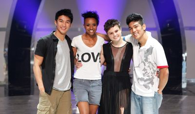 "In this image released by Fox, contestants from left, Marko Germar, Sasha Mallory, Melanie Moore and Tadd Gadduang, from the dance competition series ""So You Think You Can dance,"" are shown on Aug. 4, 2011, in Los Angeles. The winner will be revealed on Thursday, Aug. 11. (AP Photo/Fox, Adam Rose)"
